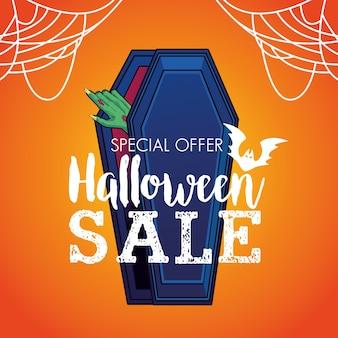 Cartel de temporada de venta de halloween con mano saliendo de ataúd y spidernet