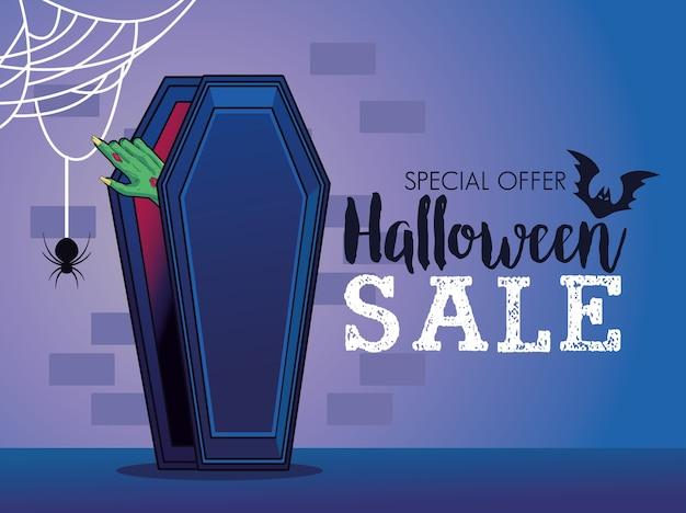 Cartel de temporada de venta de halloween con mano saliendo del ataúd