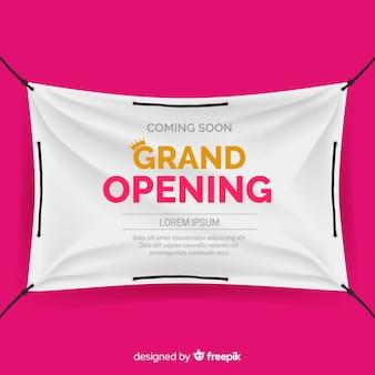 Cartel textil realista gran apertura