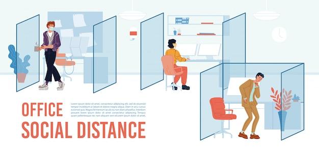Cartel de texto de motivación de distancia social de oficina