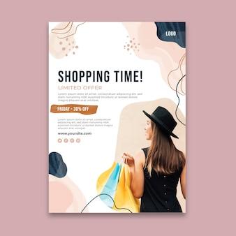 Cartel de tiempo de compras en línea.