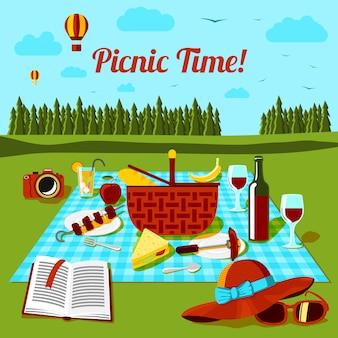 Cartel de tiempo de picnic con diferentes alimentos y bebidas en el paño, vista al campo. vector
