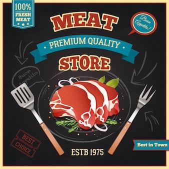 Cartel de la tienda de carne