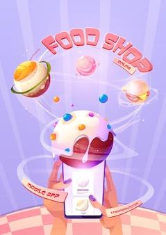 Cartel de tienda de comida online