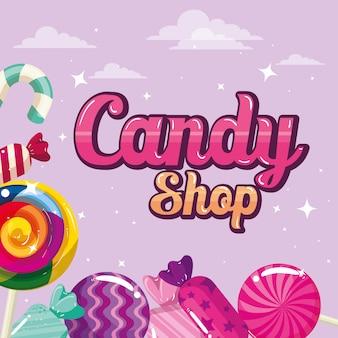 Cartel de tienda de dulces con caramelos de marco