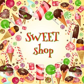 Cartel de tienda de dulces con caramelos y piruletas. helado, comida deliciosa,