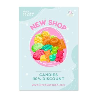 Cartel de tienda de dulces con dulces.