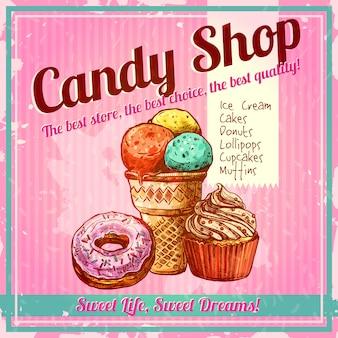 Cartel de la tienda de dulces vintage