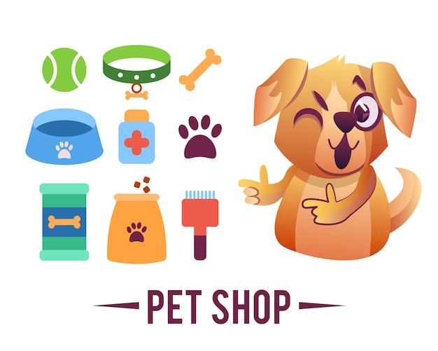 Cartel de la tienda de mascotas, perro con artículos para mascotas.