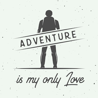 Cartel de tipografía de camping, aire libre o aventura.