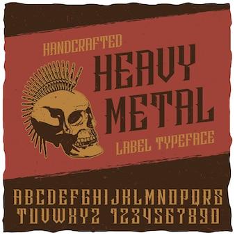 Cartel de tipografía de etiqueta heavy metal con calavera punk