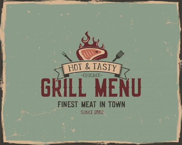 Cartel de tipografía de menú de parrilla y parrilla. estilo grunge retro
