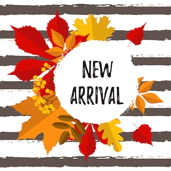 Cartel de tipografía de otoño nueva llegada con hojas coloridas.