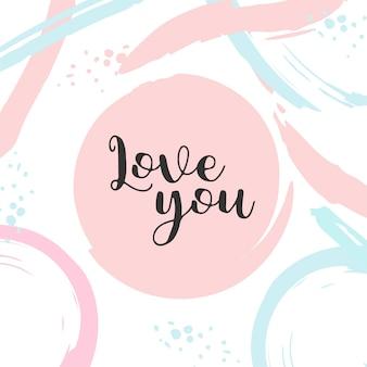 Cartel con tipografía te amo