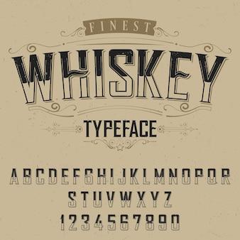 Cartel de tipografía de whisky más fino con decoración en ilustración beige
