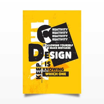 Cartel tipográfico de citas de diseño famoso