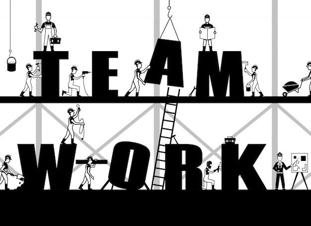 Cartel de trabajo en equipo de construcción