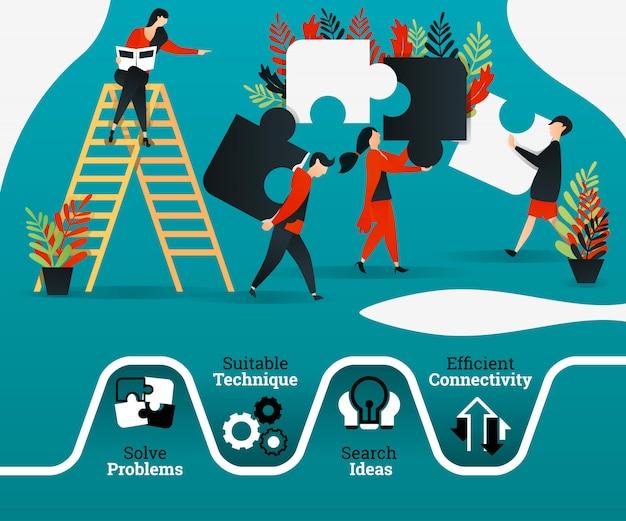 Cartel de trabajo en equipo y liderazgo.