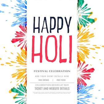 Cartel tradicional colorido feliz holi splash