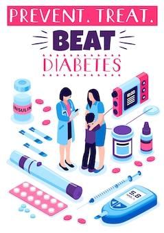 Cartel de tratamiento de prevención de diabetes