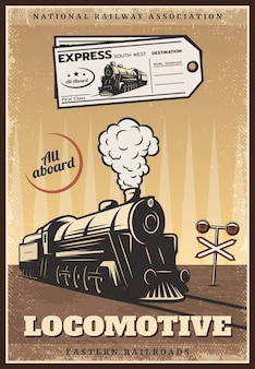 Cartel de tren retro industrial coloreado vintage
