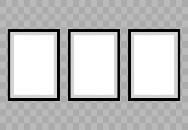 Cartel de tres cuadros en blanco