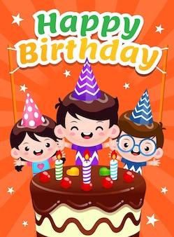 Cartel de tres niños celebrando feliz cumpleaños