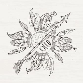 Cartel tribal con flechas atrapasueños y plumas indias.