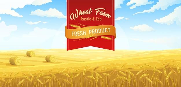 Cartel de trigo de campos rurales de escena de granja con texto adornado de cinta roja y paisaje al aire libre