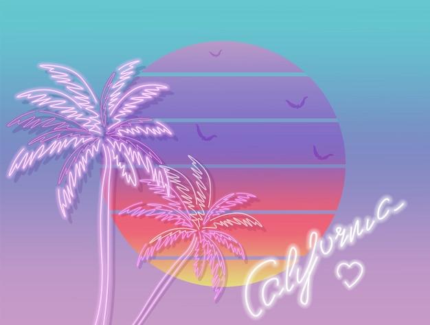Cartel tropical de california al atardecer