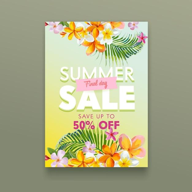 Cartel tropical de venta de verano con flores de plumeria y hojas de palmera, fondo floral botánico, descuento de tienda de publicidad promocional, banner de oferta especial de compras, cupón de descuento, folleto. ilustración vectorial