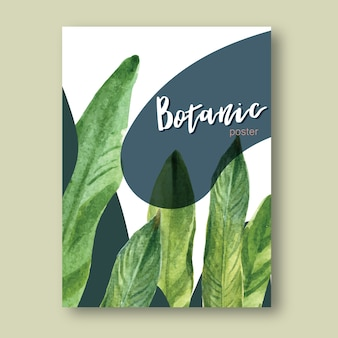 Cartel tropical de verano con plantas follaje exótico, acuarela creativa.