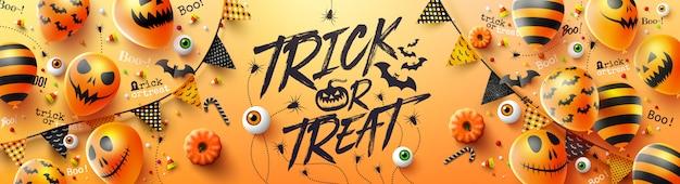 Cartel de truco o trato de feliz halloween con globos de fantasmas de halloween