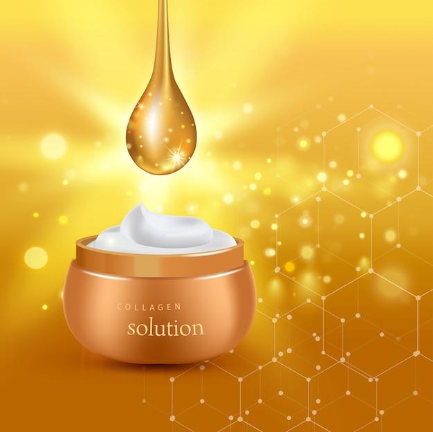 Cartel de tubo cosmético realista de oro con crema de solución de colágeno o esencia en la ilustración de fondo