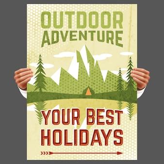 Cartel de turismo de aventura al aire libre
