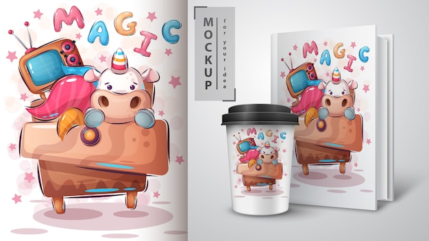 Cartel de unicornio de fantasía y merchandising