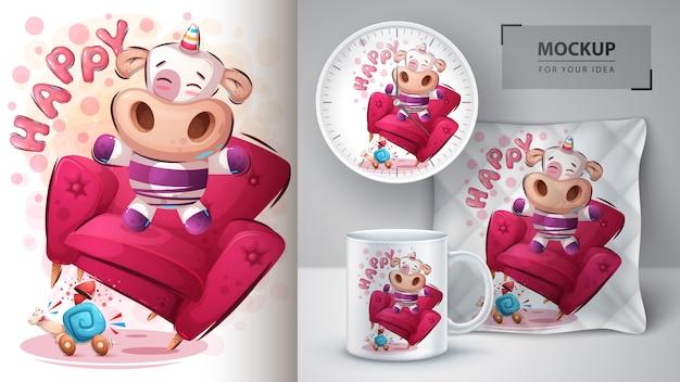 Cartel de unicornio feliz y merchandising