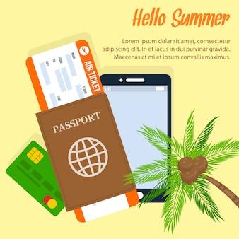 Cartel de vacaciones exóticas de verano con espacio de texto