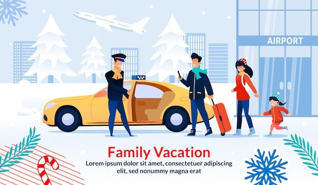 Cartel de vacaciones familiares felices en vacaciones de navidad