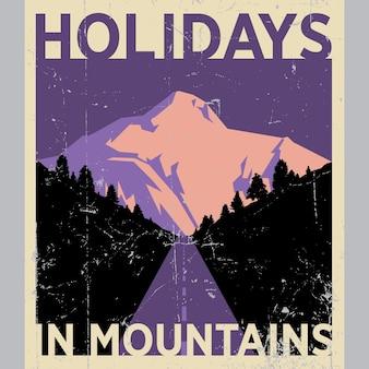 Cartel de vacaciones en las montañas con hermosa naturaleza en ilustración efectiva