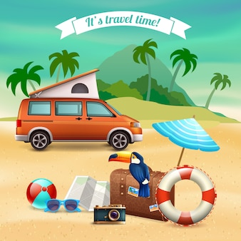 Cartel de vacaciones realistas de verano