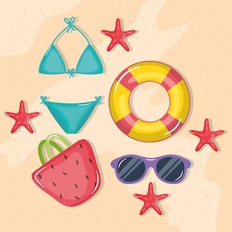 Cartel de vacaciones de verano con bikini e iconos