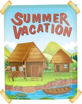 Cartel de vacaciones de verano con casas junto al río