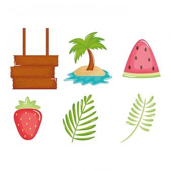 Cartel de vacaciones de verano establece iconos