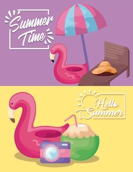 Cartel de vacaciones de verano con flotador flamenco y paraguas.
