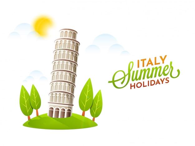 Cartel de vacaciones de verano de italia con pisa