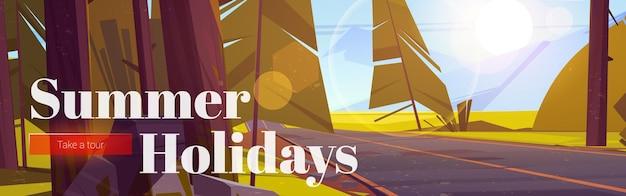 Cartel de vacaciones de verano con paisaje forestal con carreteras y montañas en el horizonte