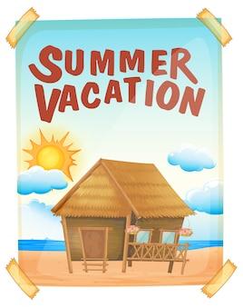 Cartel de vacaciones de verano en la pared.