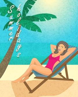 Cartel de vacaciones de verano, plantilla de impresión o banner