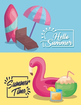 Cartel de vacaciones de verano con tabla de surf y flotador flamenco.